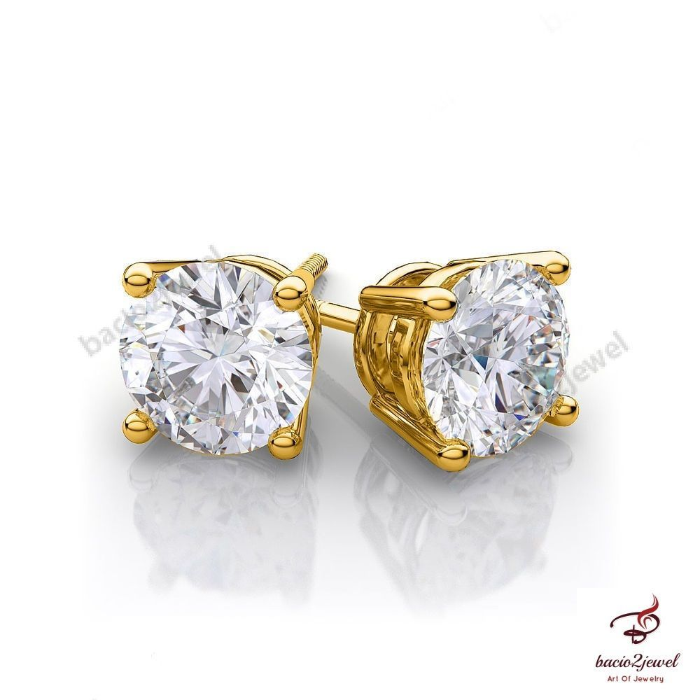 1/2ct Heart Created Diamond Stud Earrings 14K Solid Yellow Gold Solitaire Basket Jewellery & Watches Fine Earrings