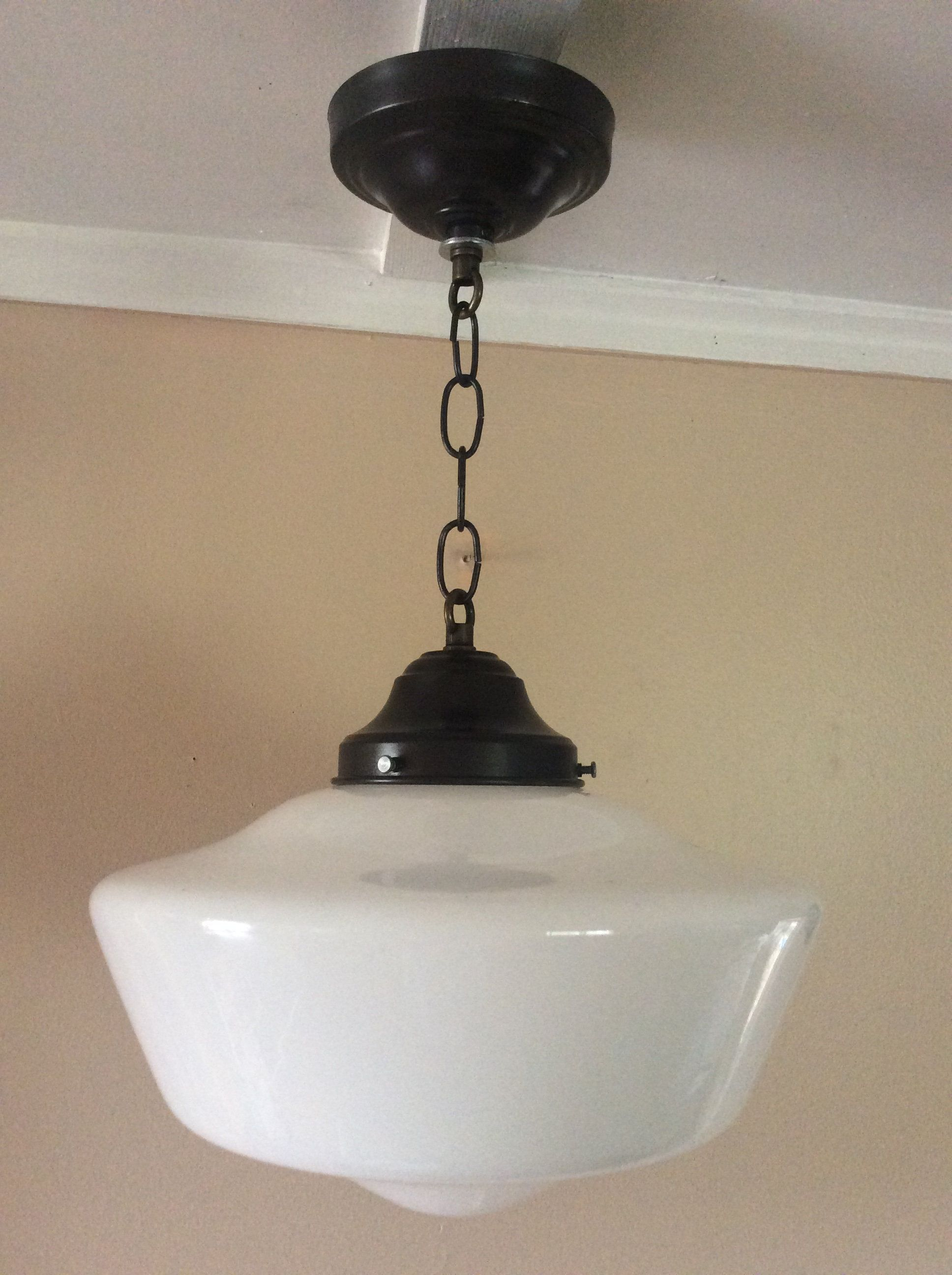 Vintage hanging school house pendant light fixture 1920s milk glass store light