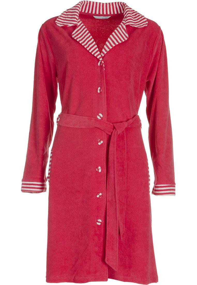 Pastunette red   white ladies terry bathrobe with striped detailing Striped 7e6591c74