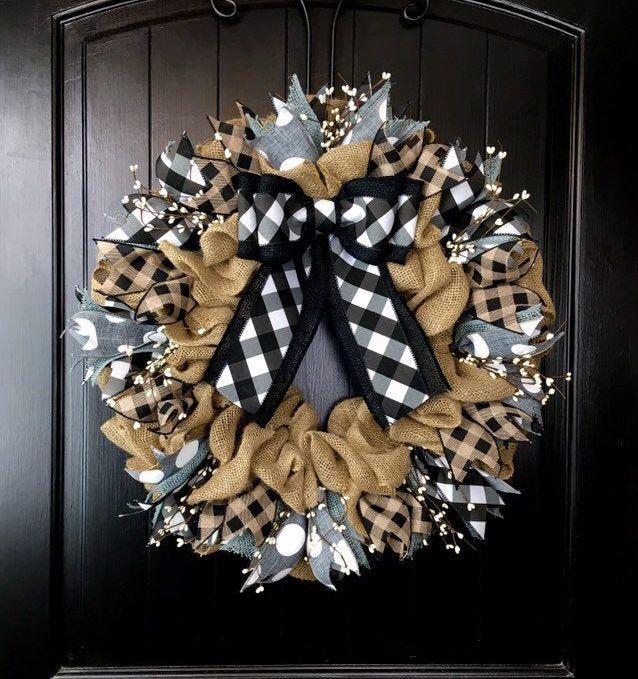 Photo of Sackcloth wreaths for front door, rustic wreaths, year-round wreaths, summer sackcloth wreath, black plaid wreath, designer wreath, pip berry CUTE