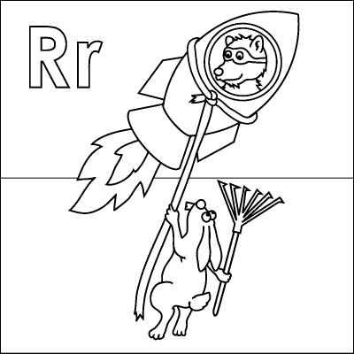 Letter R coloring page (Rocket, Raccoon, Rabbit, Rope, Rake). Color ...