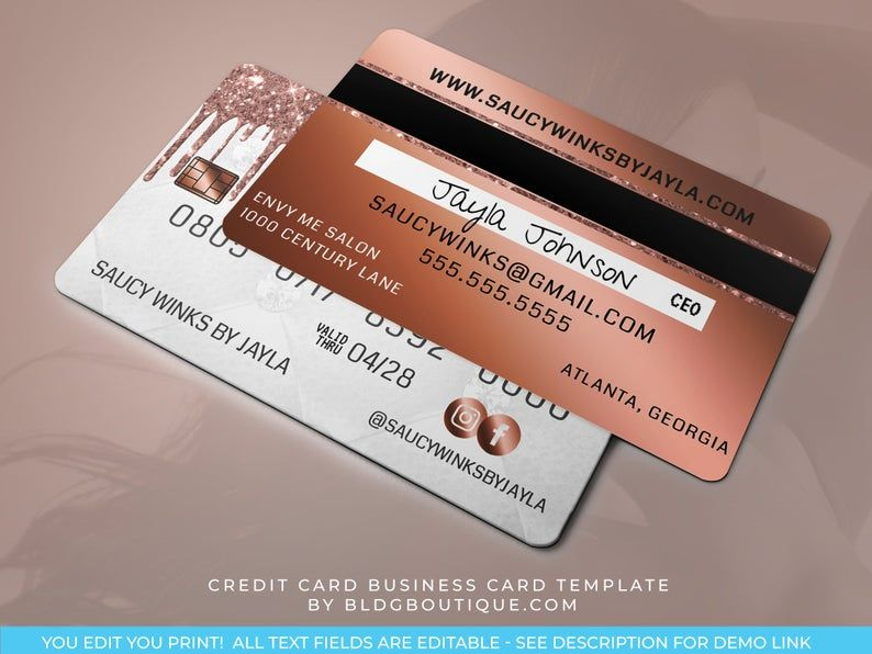 Credit Card Business Card Template Hair Extensions Business Etsy In 2021 Nail Tech Business Cards Boutique Business Cards Catchy Business Name Ideas