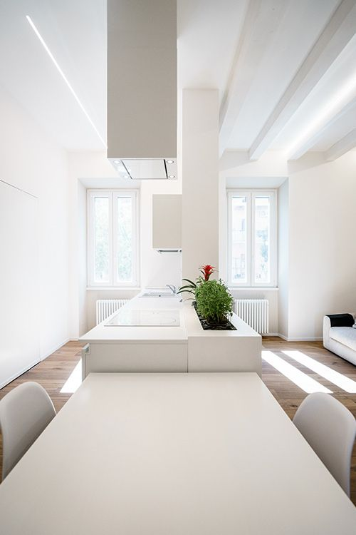 All white minimalist apartment with open space kitchen dining and living area in