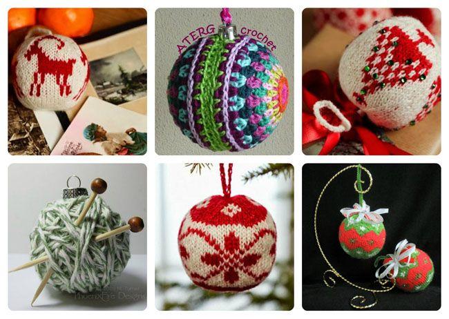 вязаные шары, шары на елку спицами, шары на елку крючком ...