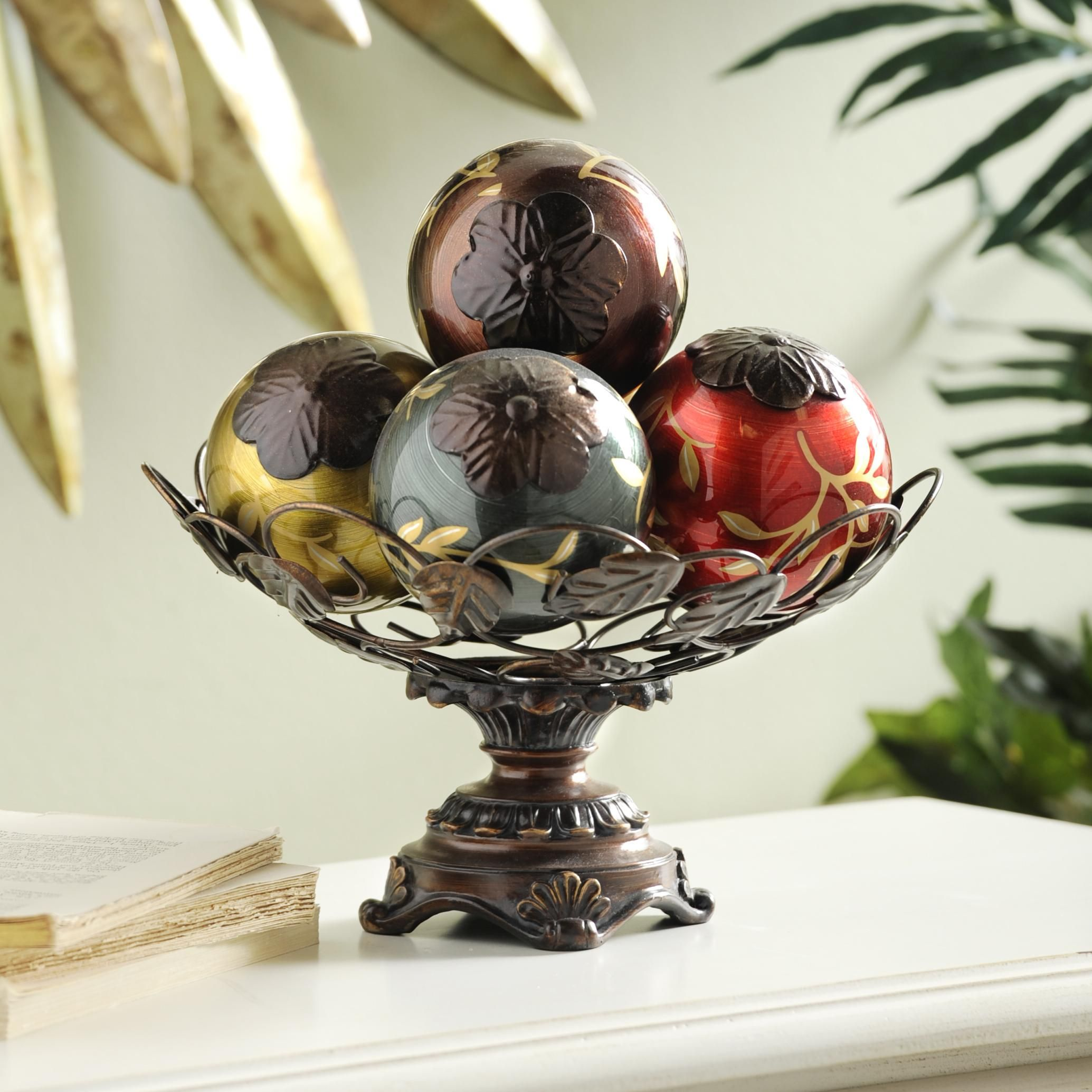 Kirklands Vine Glass Orb Bowl Is The Perfect Colorful Addition For Your Console Table Or Dining Room Pretty Fall Decor