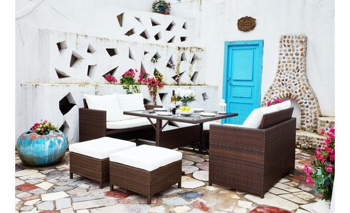 Salon de jardin encastrable Nouméa en résine tressée marron 8 places ...