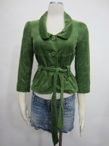Anthropologie Elevenses Jacket Green Ties Front Button Down Corduroy Party Sz 2 | eBay