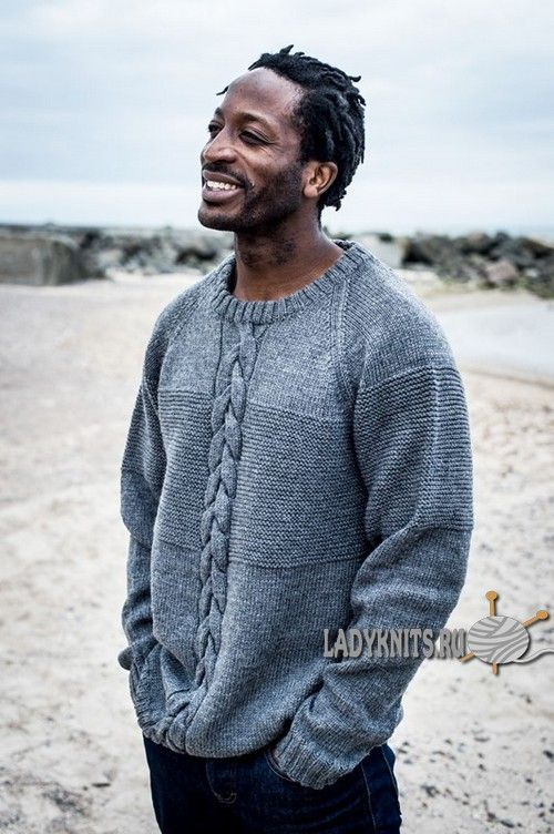 bc70653f163 Мужской вязаный свитер с косой по центру