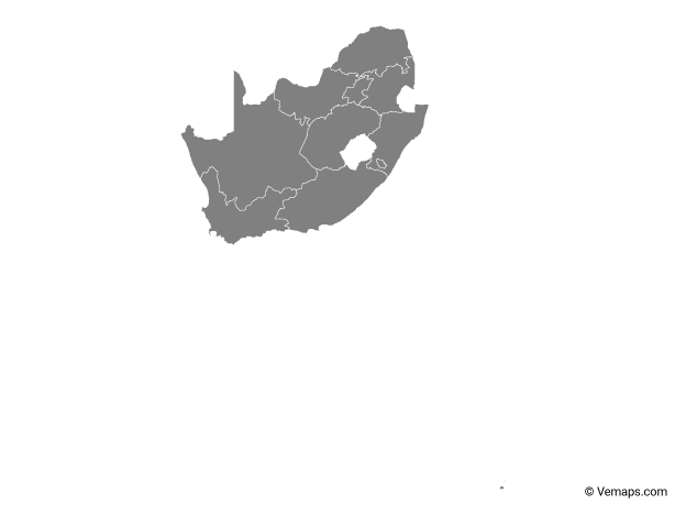 Grey Map Of South Africa With Provinces Free Vector Maps Africa Outline Africa Flag South Africa Flag