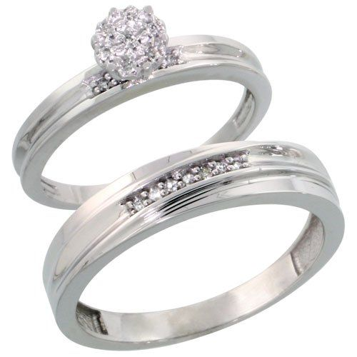Sterling Silver 2-Piece Diamond wedding Engagement Ring Set for Him and Her Rhodium finish, 3mm & 5mm wide, Size 5.5