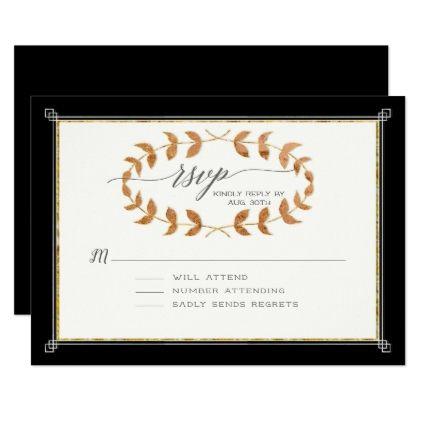 Black Rsvp Response Copper Rose Gold Laurel Wreath Card Wedding