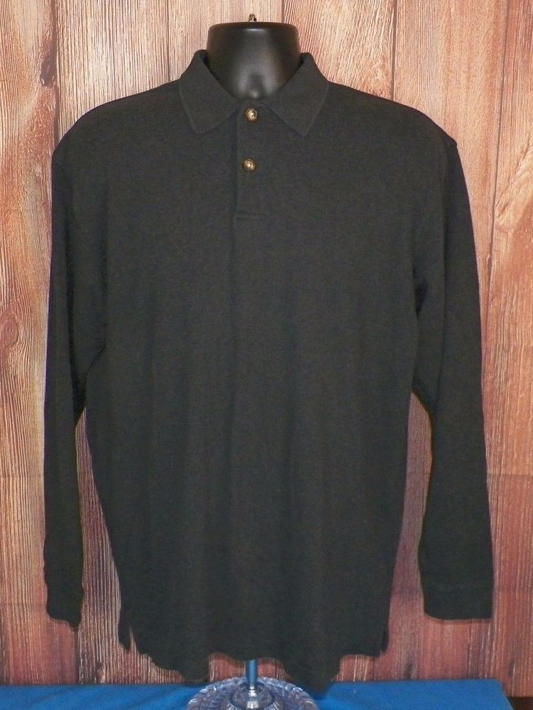 Orvis Mens Long Sleeve Pullover Polo Shirt Gray Size L #3 | Polo ...