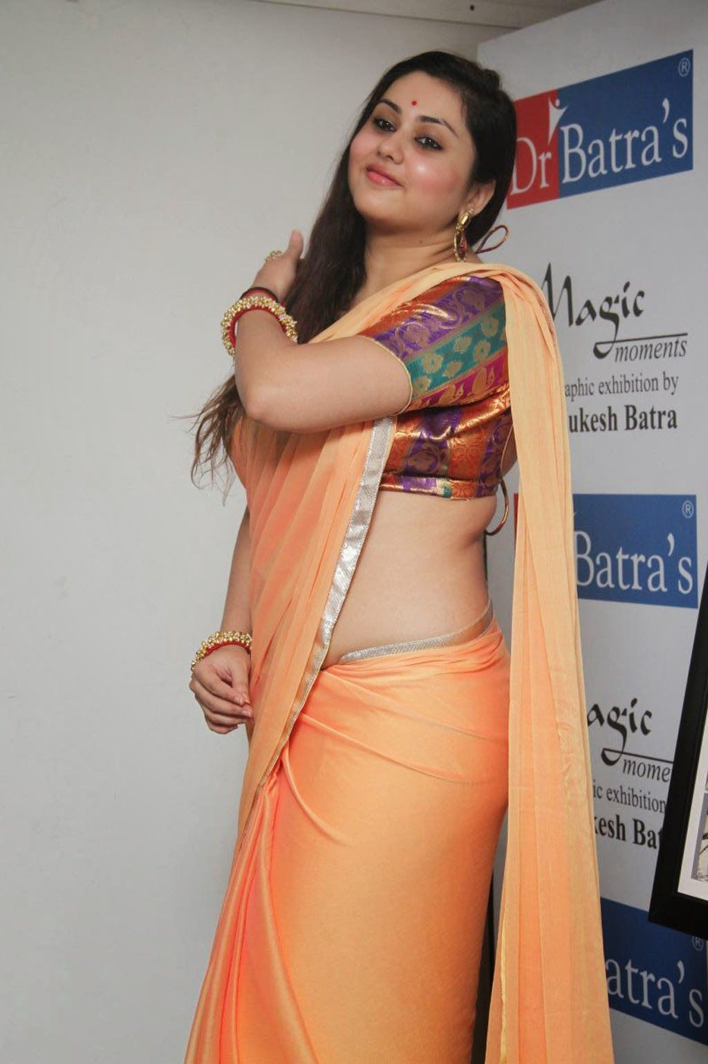 Orange saree aunty nude