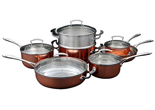 Shaffer Berry 12 Piece Copper Cookware Set With Stainless Steamer