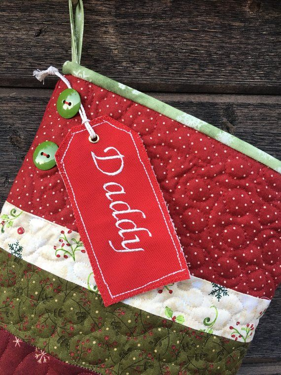 Embroidered Name Tag, Embroidered Christmas Stocking Tag