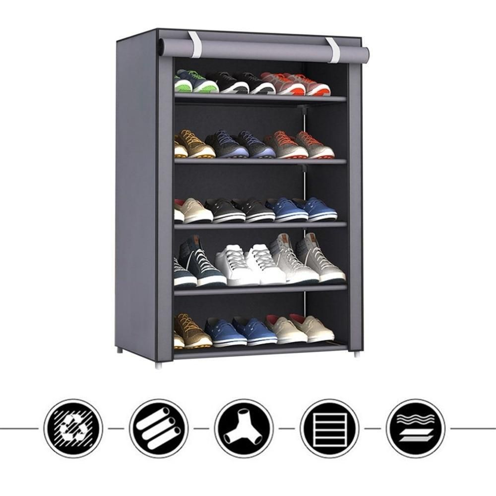 Dustproof Large Size Non Woven Fabric Shoes Rack Shoes Organizer Home Bedroom Dormitory Shoe Racks Shelf Cabinet - Russian Federation / Pattern 1 (4 l