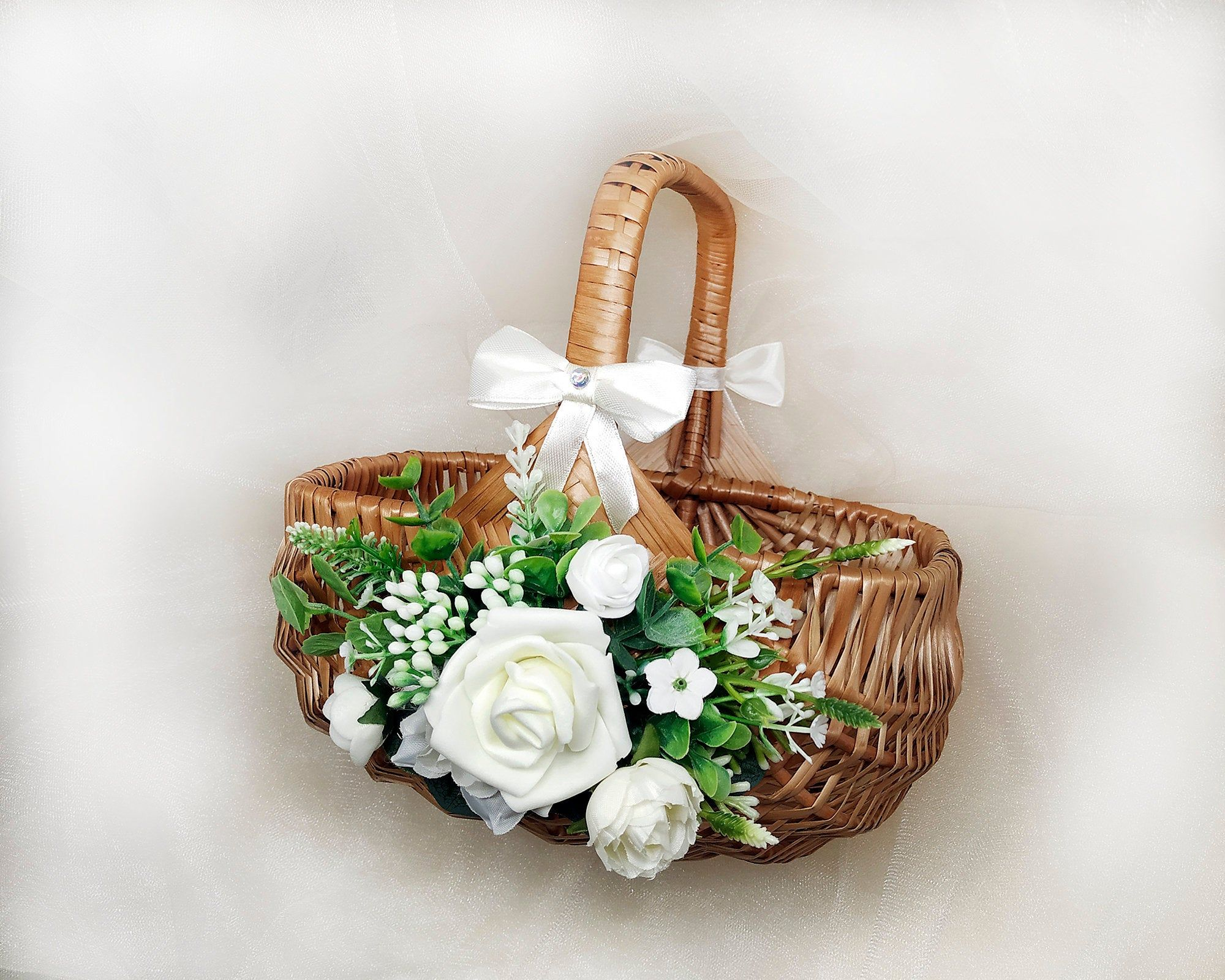 Flower girl basket rustic willow basket with ivory and