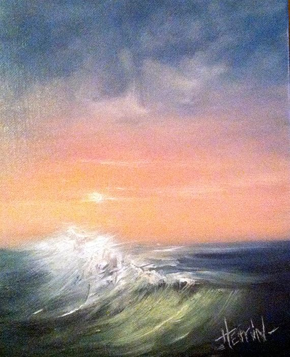 Small Seascape Painting Ocean / Beach Decor by PaintingsByNight