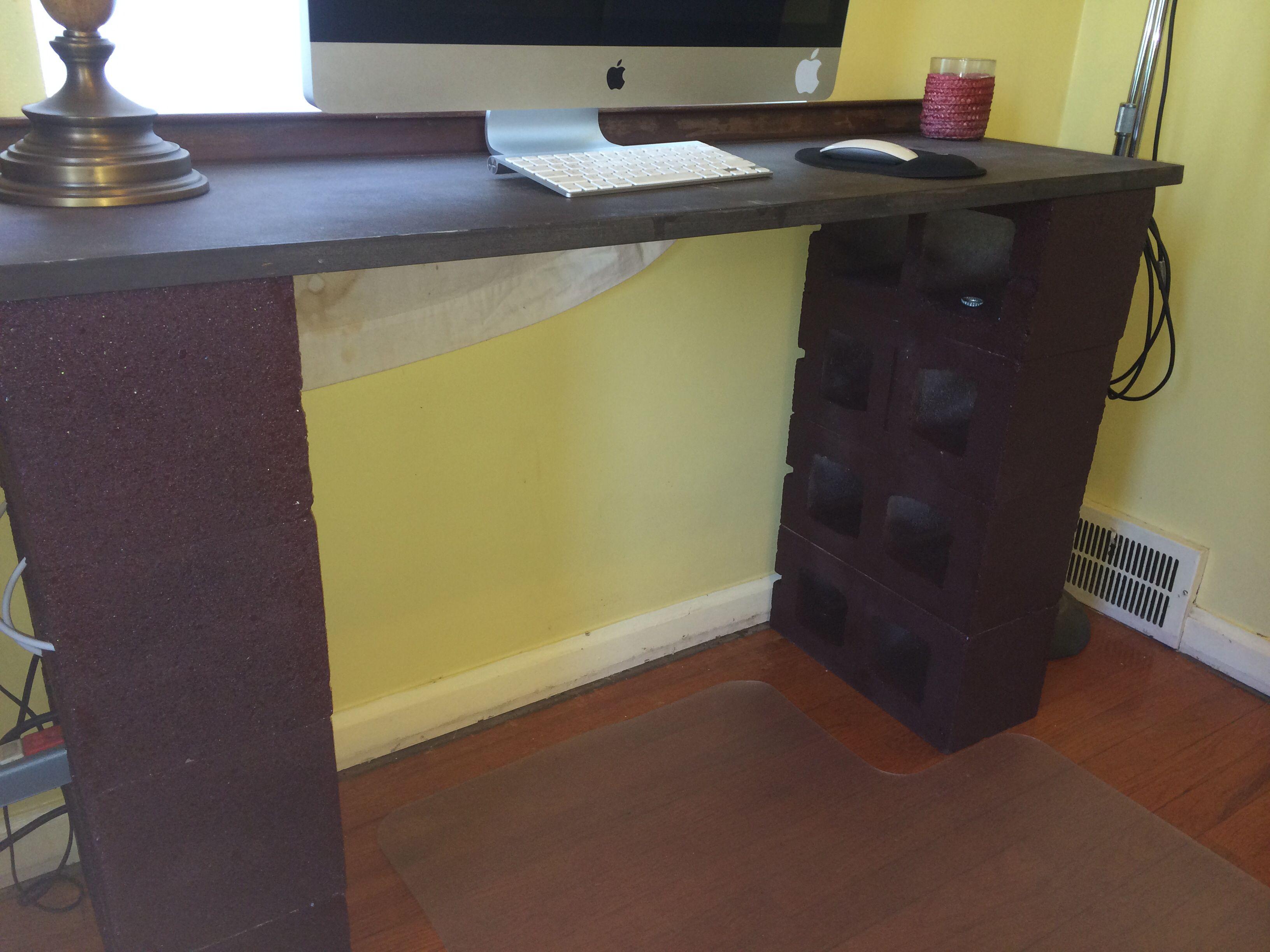 Painted Cinder Block Desk Cinder Block Desk Cinder Blocks Diy