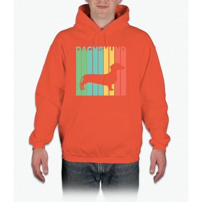 Vintage 1970's Style Dachshund Silhouette Dog Owner T-Shirt Hoodie