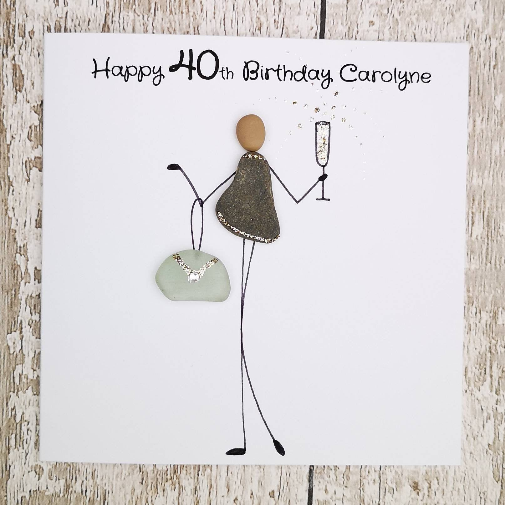 40th Birthday Card Card For Her Pebble Card Cute Card Quirky Card Unusual Card Funny Card Champagne Lover C 40th Birthday Cards Funny Birthday Cards Cards