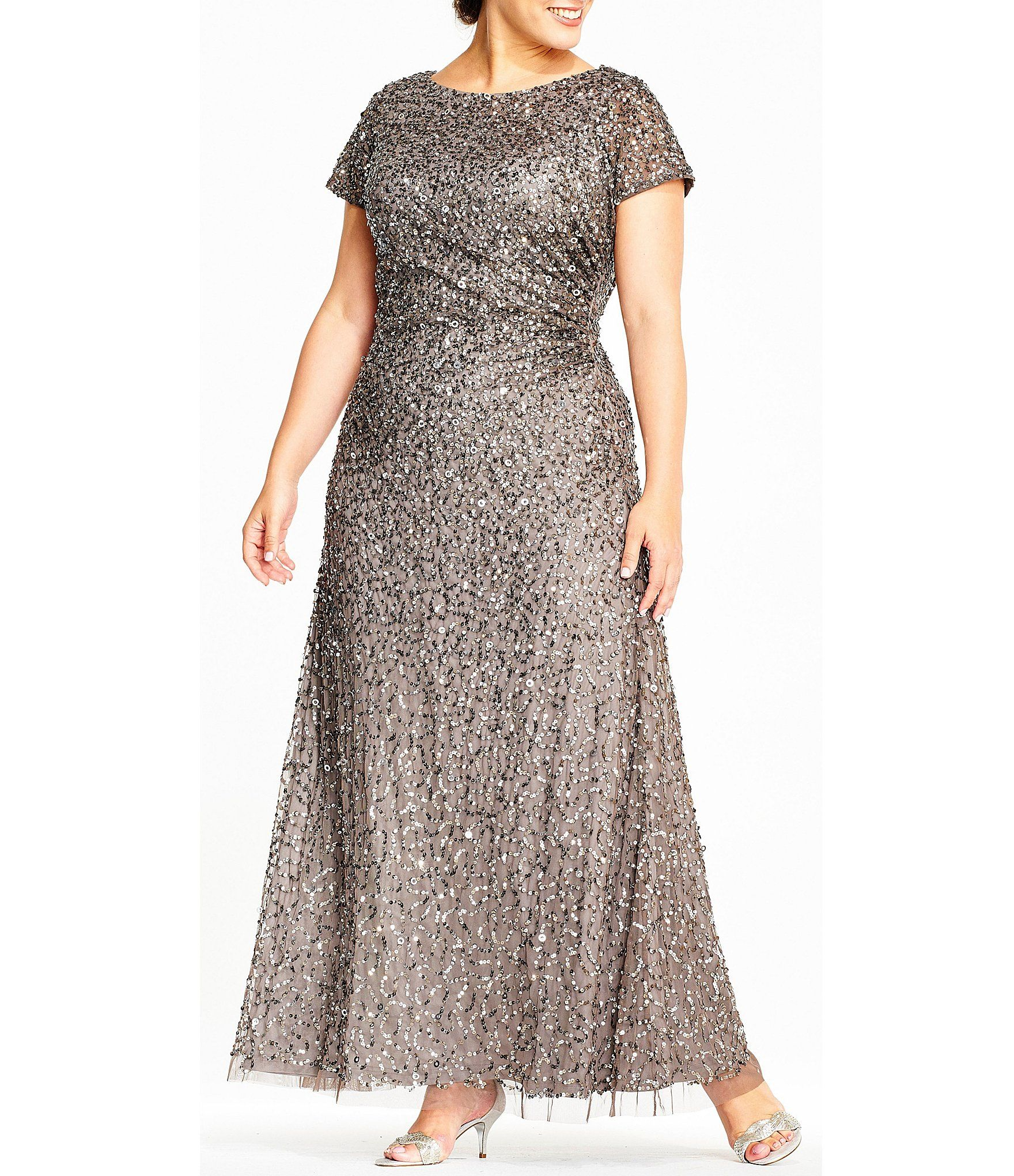 4af7865a3cf Adrianna Papell Plus Size Sequin Draped Gown  Dillards