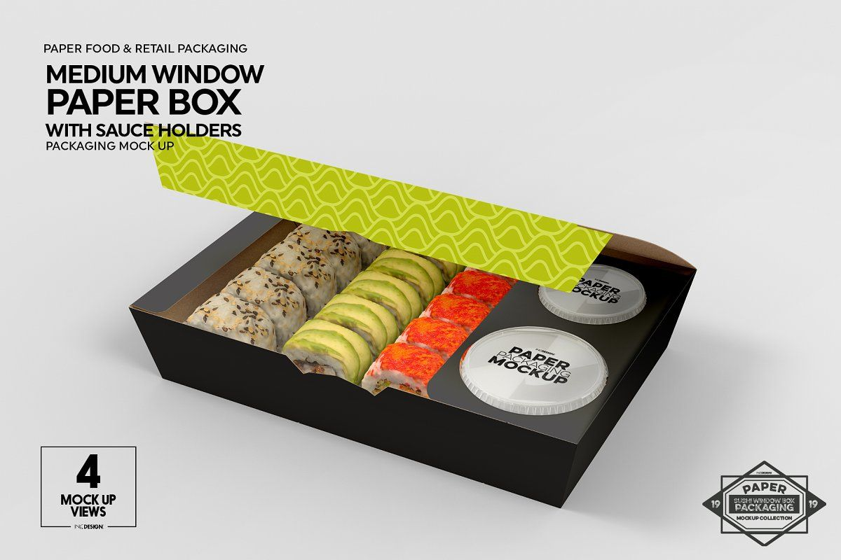 Download Paper Window Sushi Box Medium Mockup Sushi Bar Design Sushi Delivery Food Delivery Packaging