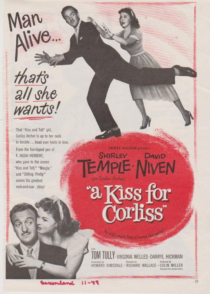 1949 Shirley Temple David Niven In A Kiss For Corliss Ad