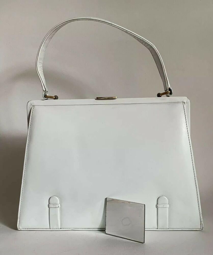 White Leather 1950s Vintage Handbag