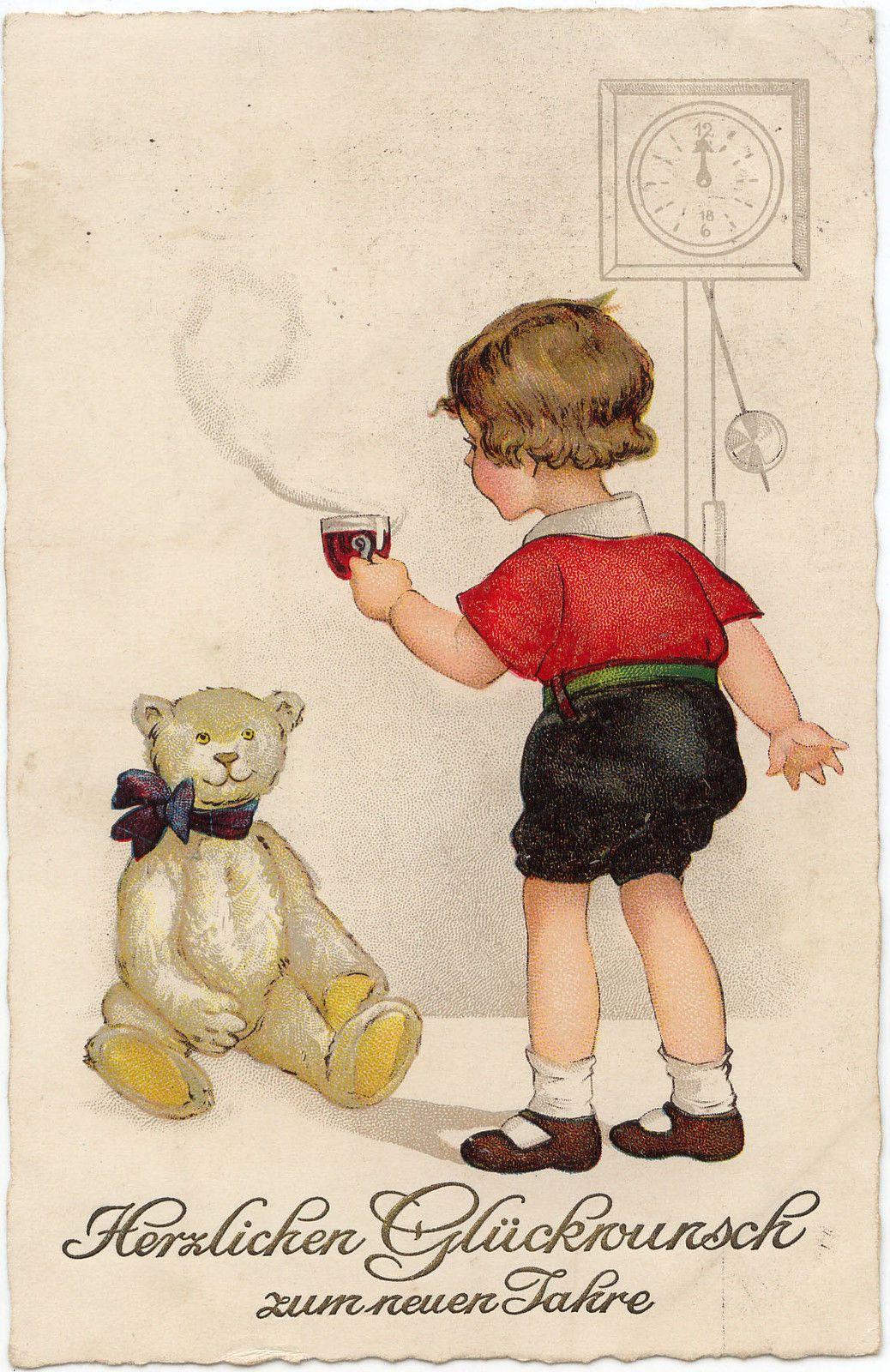 Ak - Glückwunsch zum neuen Jahr! Kind und Teddybär | eBay