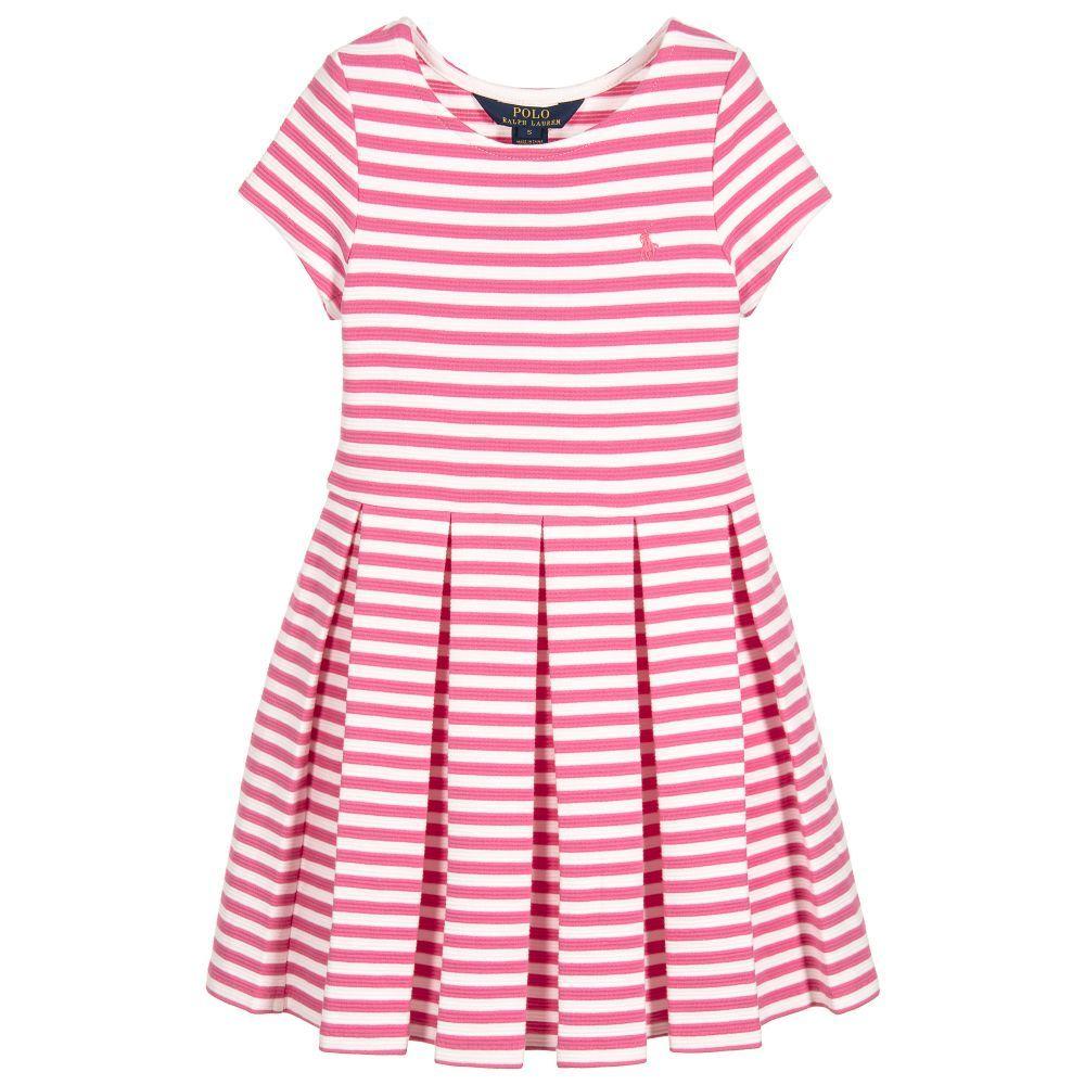 Ralph Lauren Girls Pink Striped Dress at Childrensalon.com | little ...