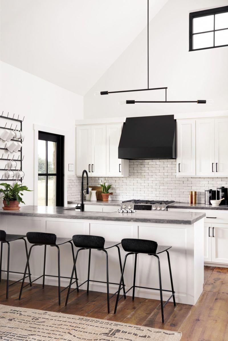 black and white kitchen designed by joanna gaines bestkitcheninterior interior design kitchen on farmhouse kitchen black and white id=65228