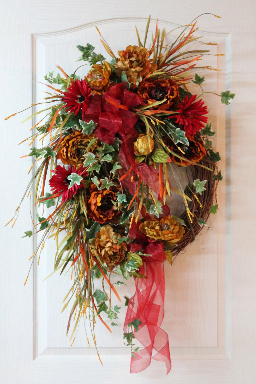 Lg Fall Front Door Wreath Beautiful Flowers Eye Catching Fall