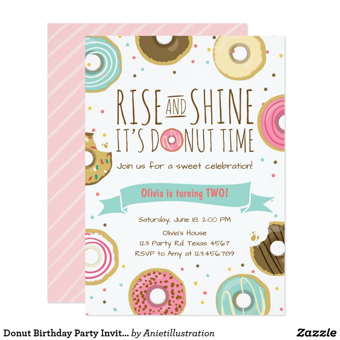 Donut Birthday Party Invitation Rise and Shine | Avery\'s Second ...