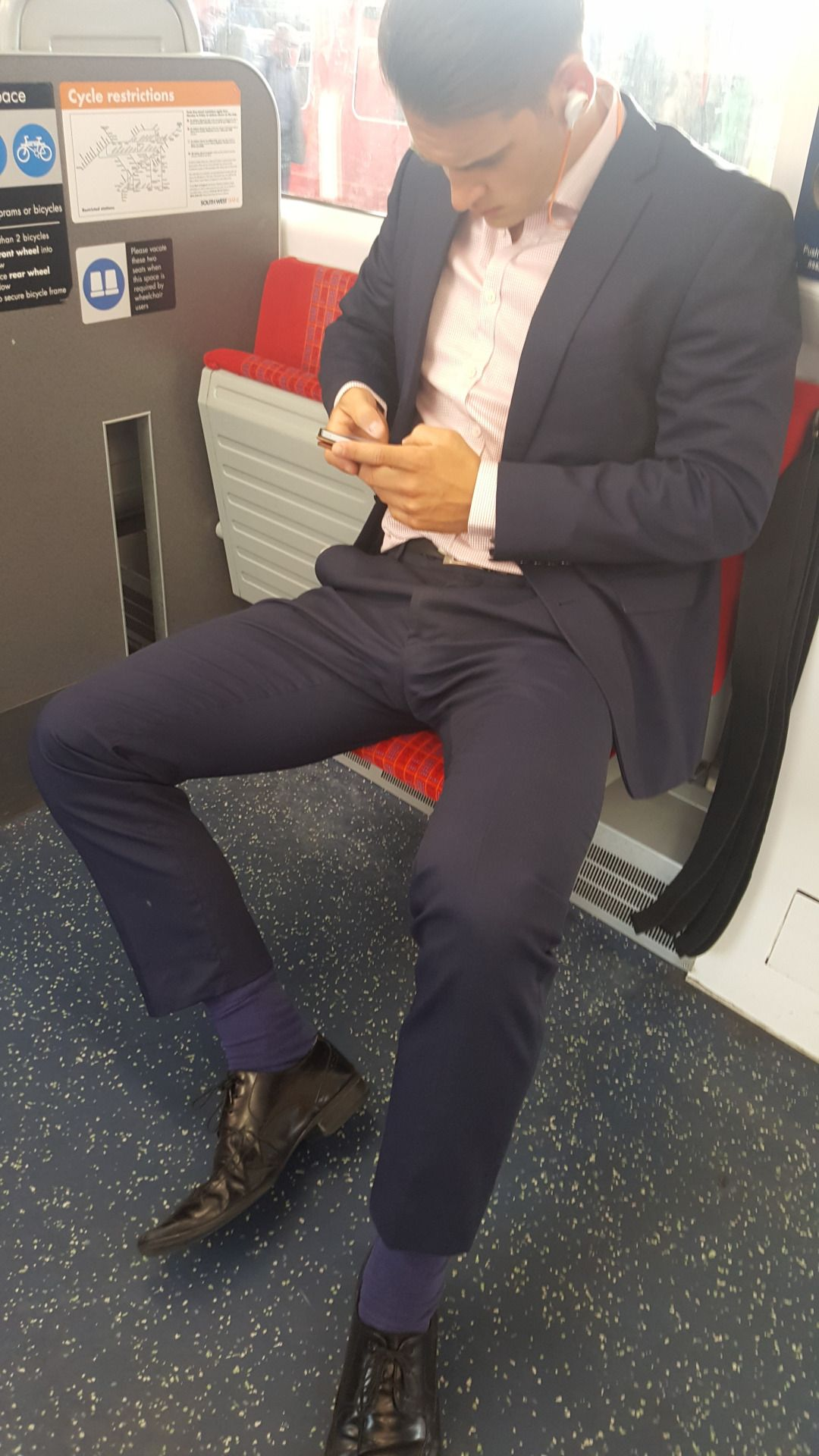 Suitman89 Manspreading On The Train, Showing  Suit -5323