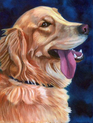 Golden Retriever Original Fine Art Oil Painting on canvas by LyN