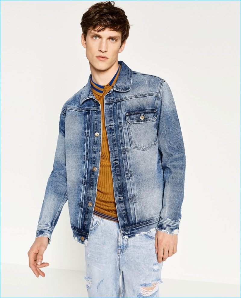 Zara Hones In On Modern Denim Fashions Denim Fashion Denim Jacket Men Jean Jacket Men [ 991 x 800 Pixel ]