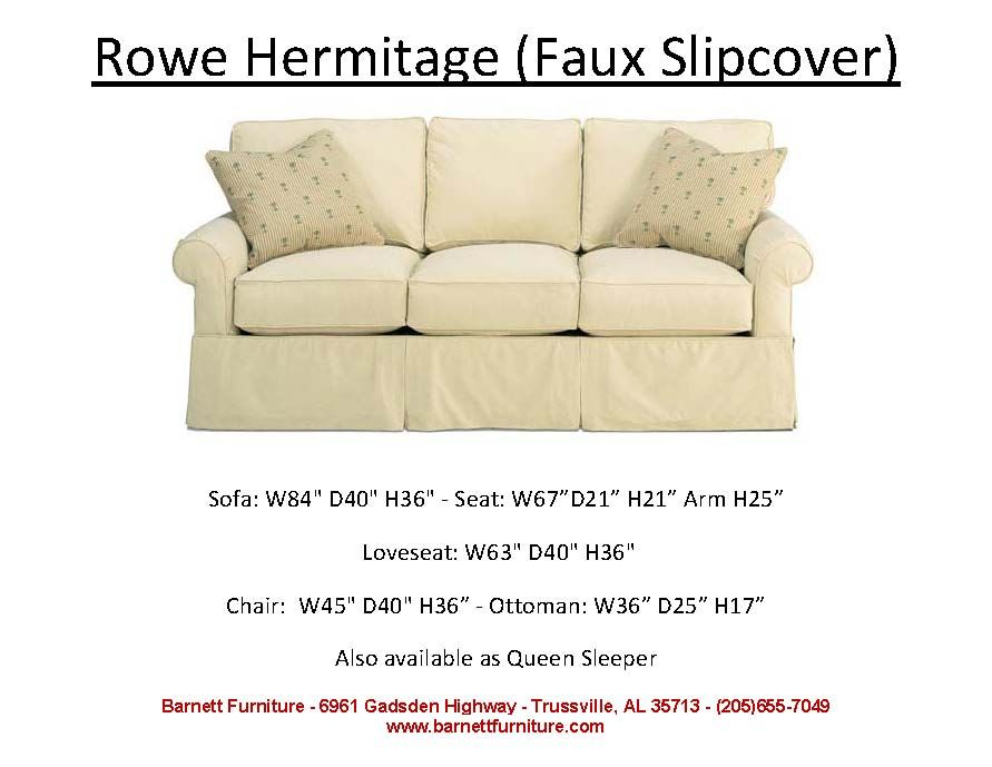 Rowe Hermitage Faux Slipcover Sofa You Choose The Fabric