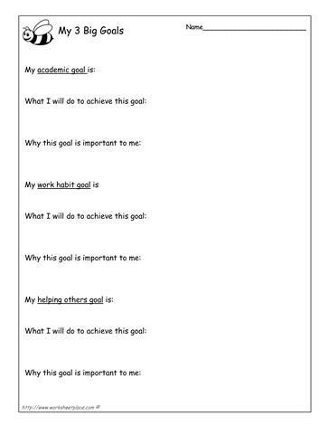 My 3 Goals worksheet (bee theme) (Goal Setting) | School Counselor
