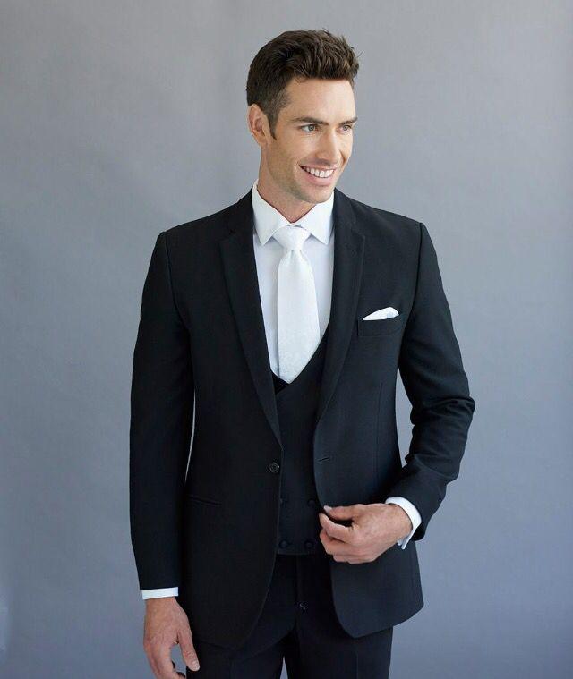 5a8e0148372a6 Black lounge suit. Fitted one button suit. Three piece suit. Sydney suit  hire and sales. Men s wedding fashion.