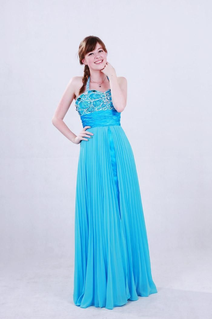 Thin straps at neck prom dress chiffon empire applies within
