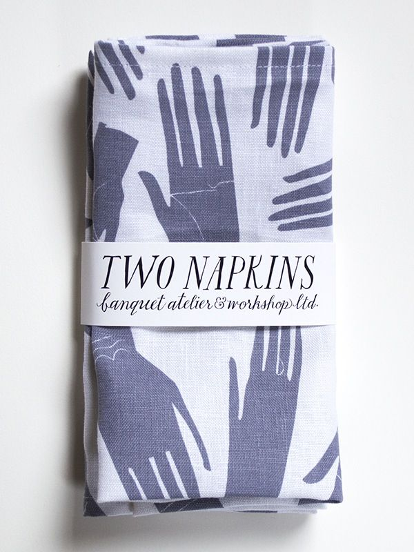 Image of Pair of Grey Hand Print Linen Napkins