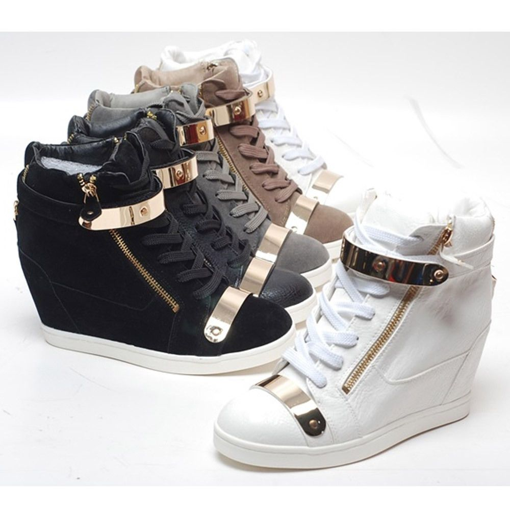 New Womens Shoes High Top Gold Velcro Wedge Heel Fashion -1156