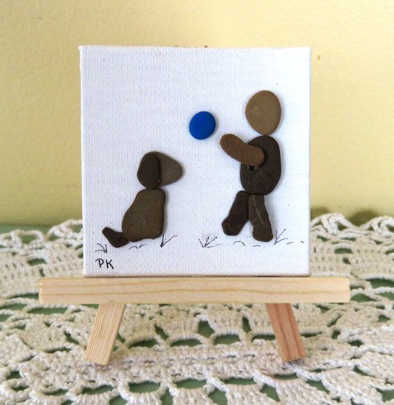 Miniature Pebble Art Picture BOY PLAYING by LakeshorePebbleArt
