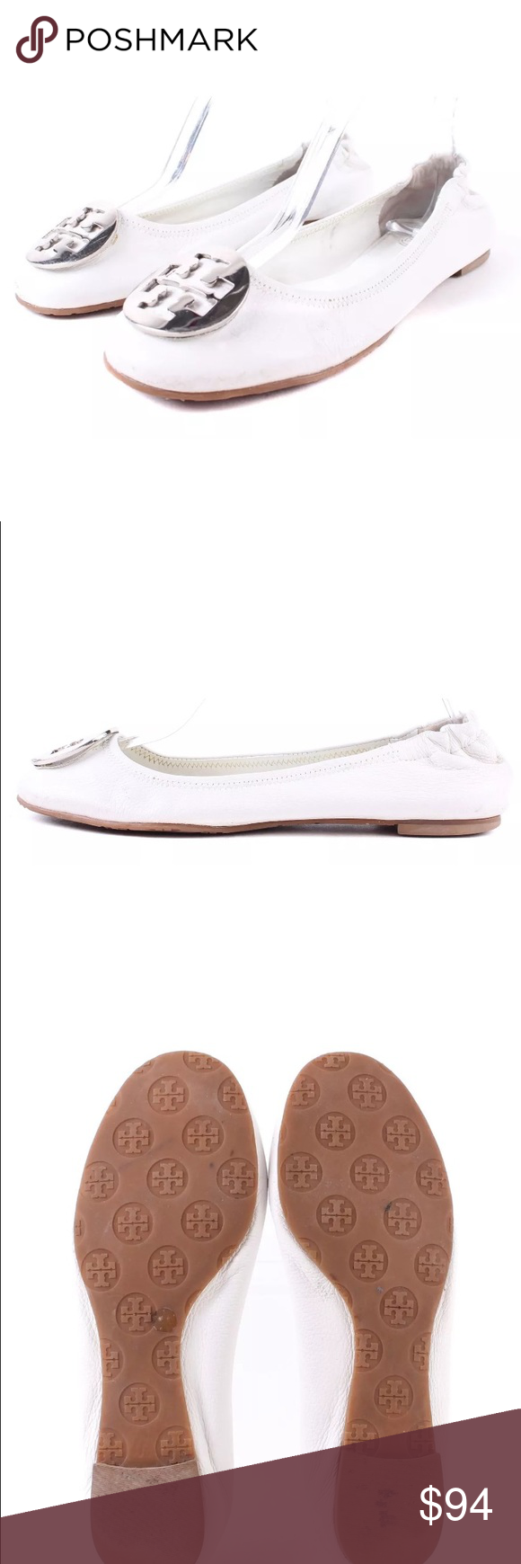 Tory Burch white w/ silver logo Reva flats Sz 8 These are an older production, but only light worn. They fit true to a size 8 in my opinion, my light also work for an 8.5. No box no bag. FIRM PRICE Tory Burch Shoes Flats & Loafers