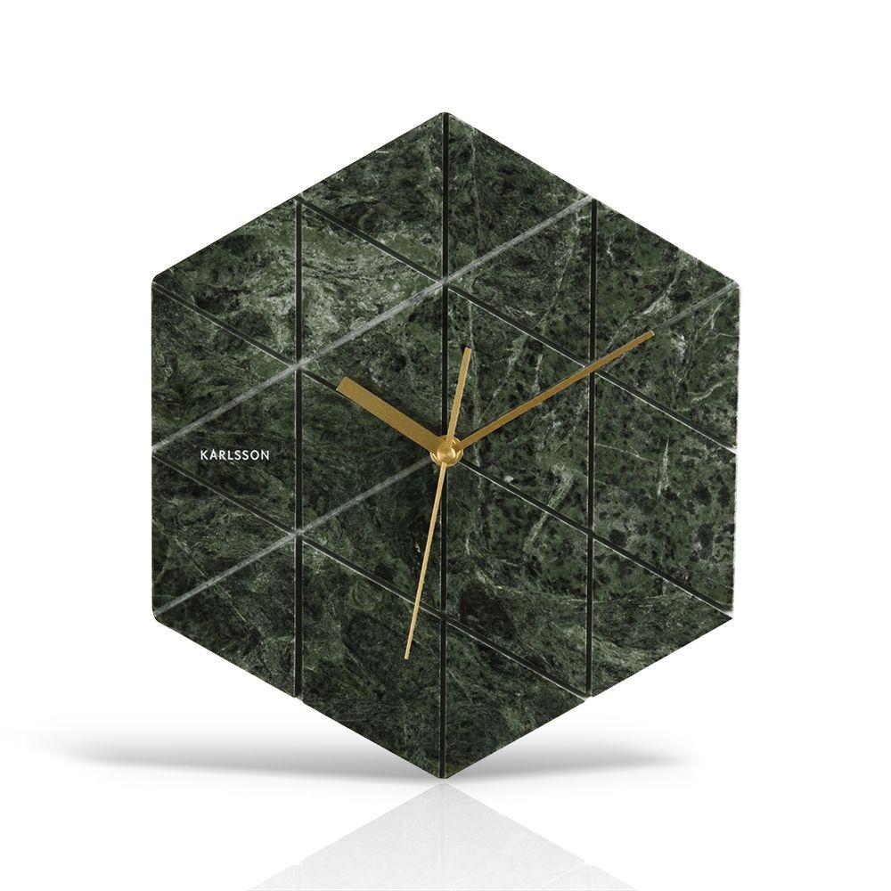 Karlsson Uhren besondere wanduhr aus echtem mamor in grün marble hexagon
