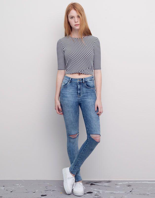 Jeans Skynny Tiro Alto Jeans Mujer Pull Bear Espana Ropa Pantalones De Moda Ropa Tumblr