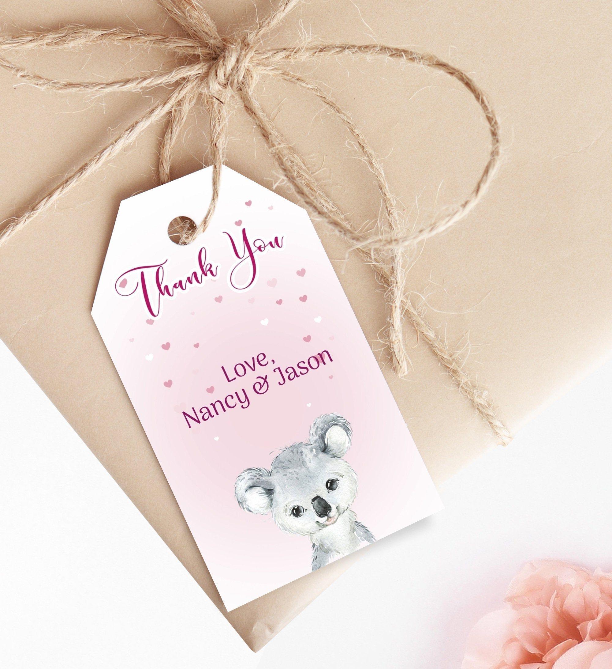Editable Baby Shower Thank You Favor Tags Koala Baby Girl Gift