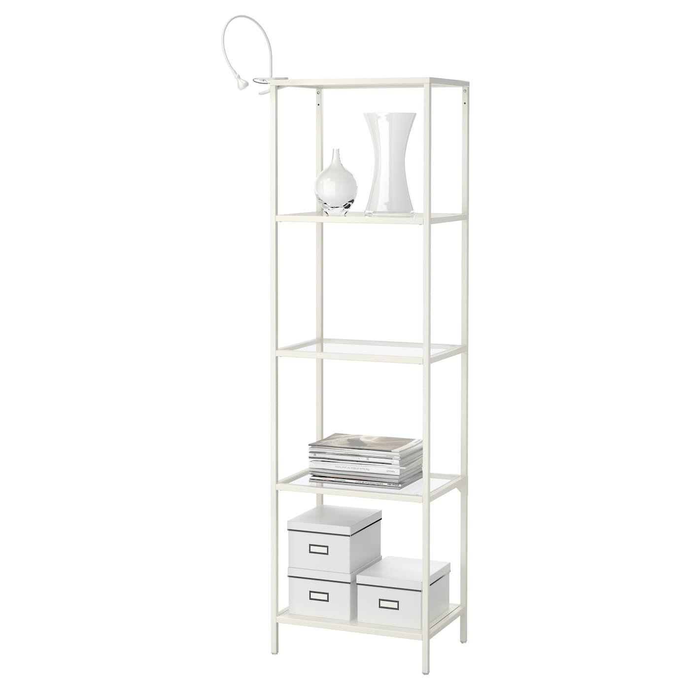 VITTSJÖ Shelf unit white, glass 20 1