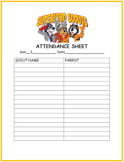 Cub Scout Attendance Sheet Printable  Tiger Scouts